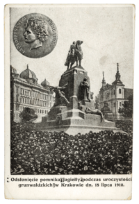 Grunwald Monument in Kraków, on the 500th anniversary  of the victory over  the Teutonic Knights,  postcard, 1910. Source: polona.pl